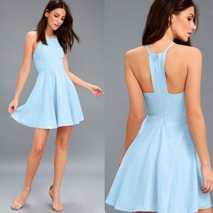 Lulus Call to Charms Light Blue Skater Dress